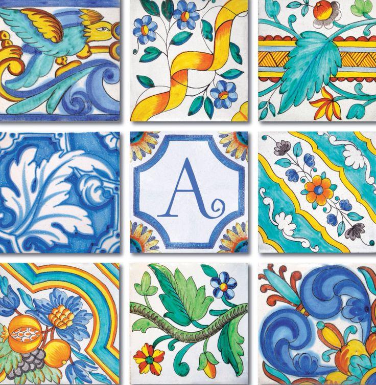 Hand painted Mediterranean tiles