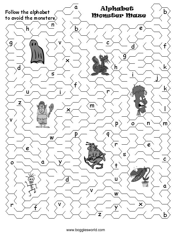 http://bogglesworldesl.com/alphabet_mazes/alphabetmonstermaze.jpg