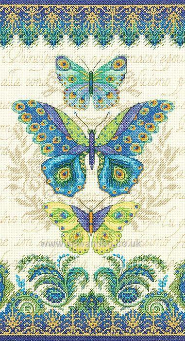 Peacock Butterflies http://www.sewandso.co.uk/Products/Peacock-Butterflies-Cross-Stitch-Kit__DIM-70-35323.aspx