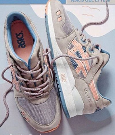 Beige blush pink Asics sneakers