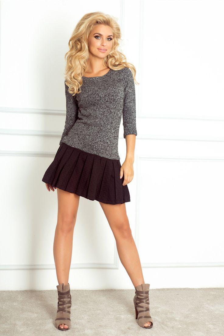 Sukienka sweterkowa ze spódniczką szara-melanż