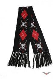 Skullbone Fransen-Schal mit rot-weißem Karomuster