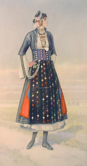 SPERLING Unmarried Girl's Dress (Macedonia, Roumlouki) 1930 lithograph on paper after original watercolour 37x20).