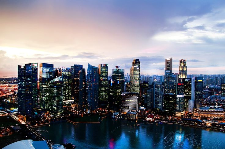 Singapore city at nightfall, view from Sky on 57.