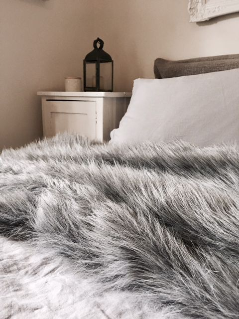 Winter with Ash grey bed linen and fur!