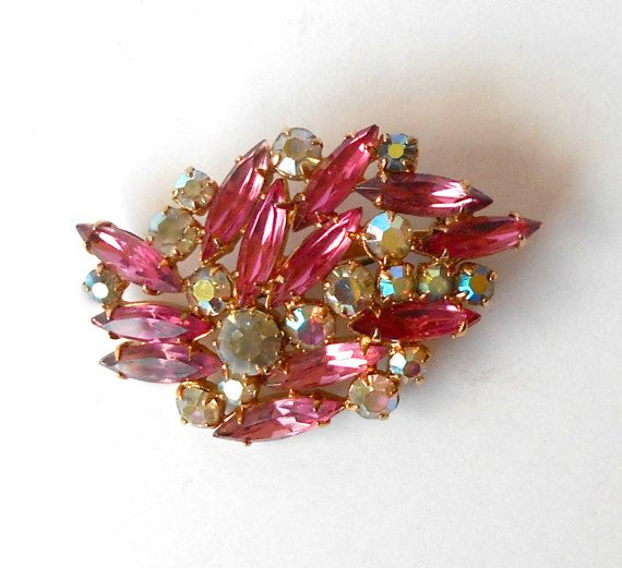 Vintage Brooch Pin Aurora Borealis AB & Pink by MargsMostlyVintage