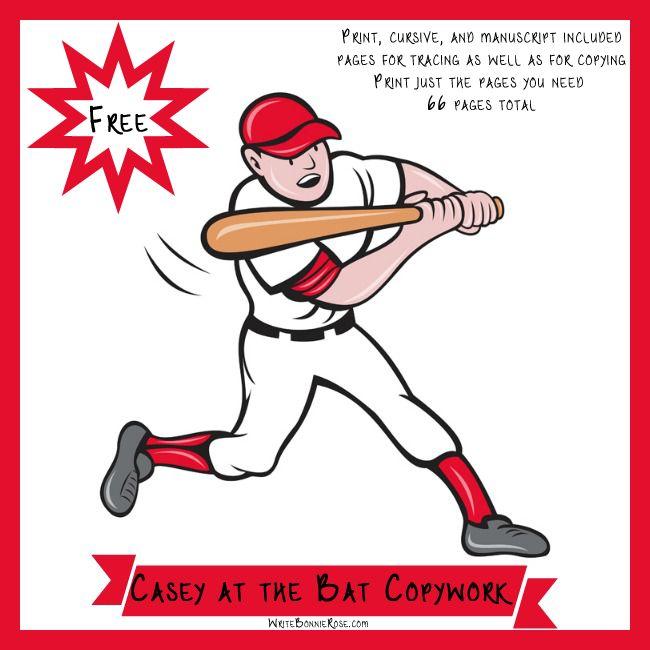 Super FUN! FREE Casey-at-the-Bat-Copywork-Freebie