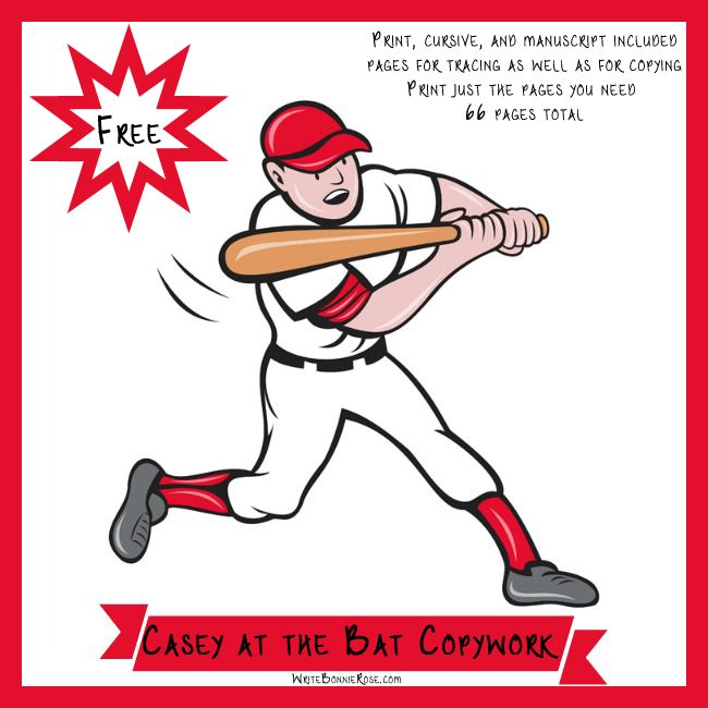 Super FUN! FREE Casey-at-the-Bat-Copywork-Freebie