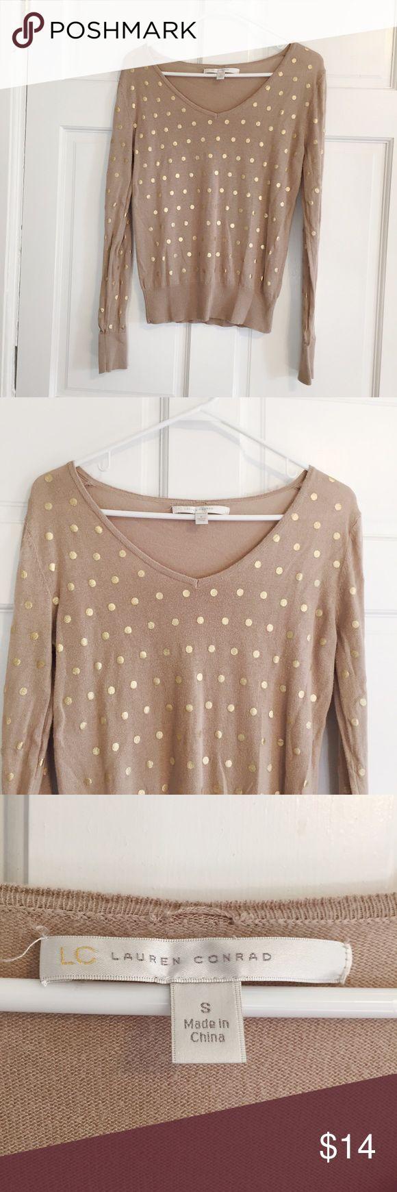 Lauren Conrad Gold Polka Dot Long Sleeve Top Tan with gold polka dots LC Lauren Conrad Tops