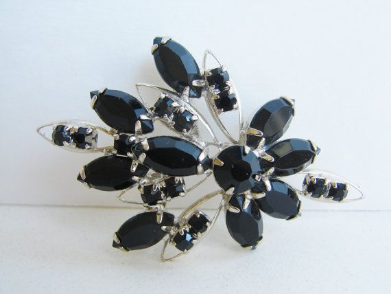 Vintage art deco style silver and black rhinestone by fayebella