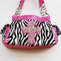 Hot Pink Zebra Print Rhinestone Cross Handbag $34.99