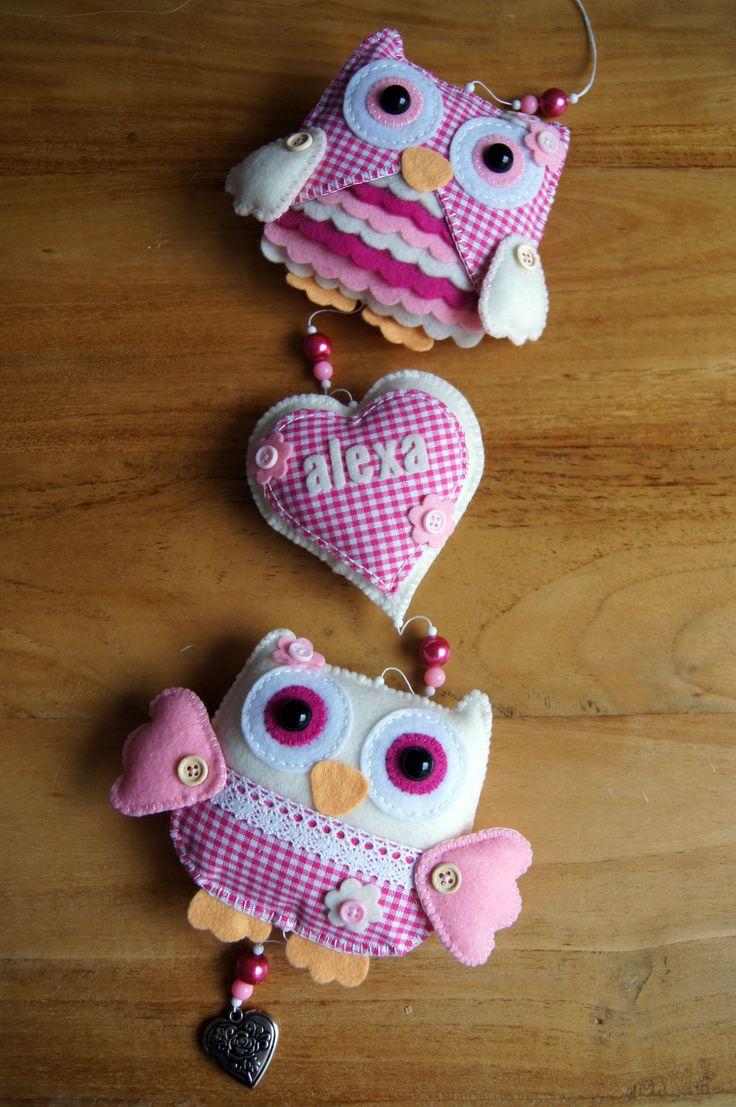 Handmade by JoHo - Uilenslinger van vilt en stof - Owls felt