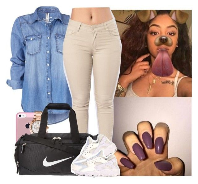 """Bruhh im so boredd"" by melaninmonroee ❤ liked on Polyvore featuring Paul Brodie, Versace and NIKE"