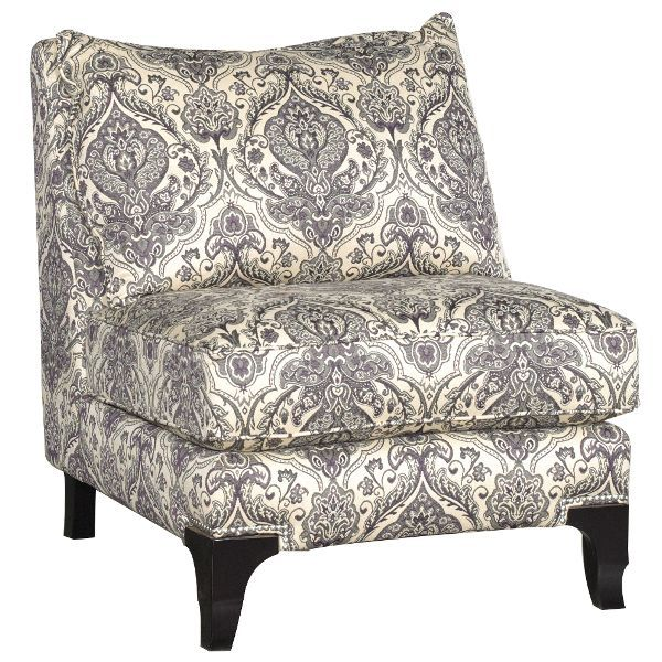This plum & cream pattern armless chair perfectly combines both traditional elegance and contemporary appeal, and it will look great in any room of your home!