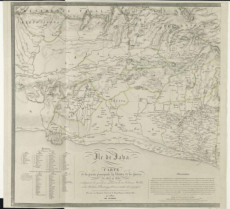 Alfred Bayly   Kaart van Java, tijdens de Java-oorlog 1825-1830 (linkerdeel), Alfred Bayly, Johannes Marinus Huart, 1830   Kaart van een deel van de zuidkant van het eiland Java rond Yogyakarta, tijdens de Java-oorlog 1825-1830, opgemaakt door Majoor de Stuers in het Hoofdkwartier te Magelang, 31 januari 1830. Grote kaart bestaande uit twee delen waarvan dit het linkerdeel is.