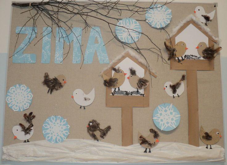 Ptáčci v zimě u krmítka