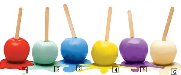 1. Látex Maxx, vermelho (ref. 112, Suvinil), PVA premium.2. Látex PVA premium Decora verde-cheiro-verde (Tintas Coral).3. Acrílico premium azul-náutico (Eucatex).4. Acrílico premium Melalatex Requinte Superlavável amarelo (ref. 6913, herwin-Williams).5. Acrílico premium violeta (ref. LKS1945, Lukscolor).6. Acrílico premium creme (ref. 315-4, Tintas Renner).