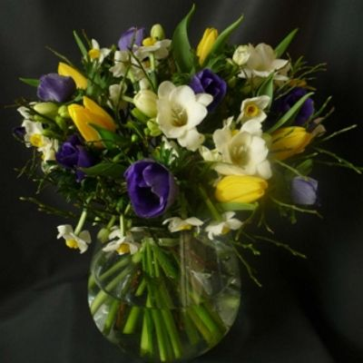 A bouquet of spring, seasonal flowers and foliages. Part of our Mothers Day 2016 Collection.