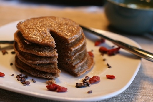 Spelt pancakes for one! I added 1tsp cardamom and did half the (soy) milk plus half a cup of oil and one egg to help it stick together and give it a little protein.