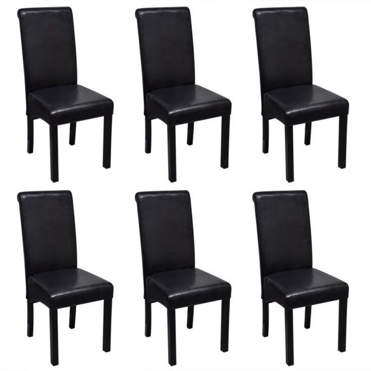 6x Faux Leather Dining Chair w Wooden Legs in Black   Buy Furniture