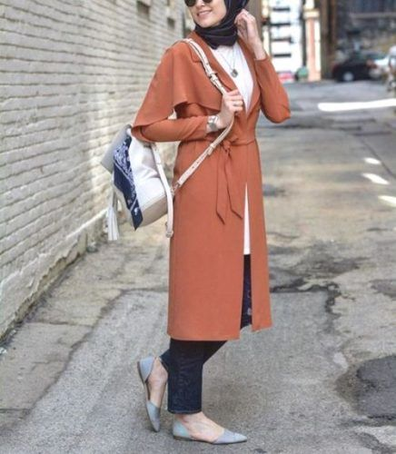rusty long trench coat hijab- Cute hijab for teens http://www.justtrendygirls.com/cute-hijab-for-teens/
