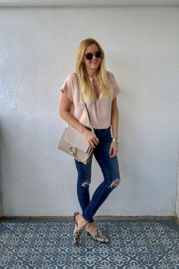 e856bdb2aa Pink J.Crew Shirt with American Eagle Jeans   Snakeskin Slides - Ultimate  Spring Style