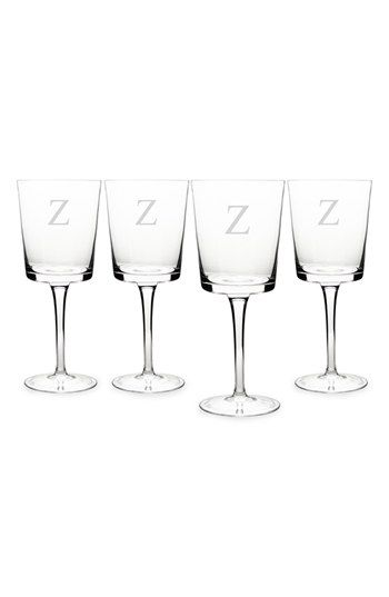 Cathy's Concepts Personalized Contemporary Wine Glasses - White (Set of 4)