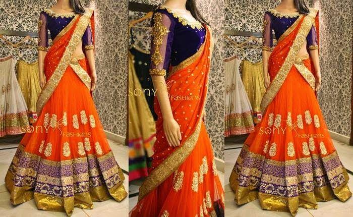 Orange Half Sari Velvet Blouse   Saree Blouse Patterns