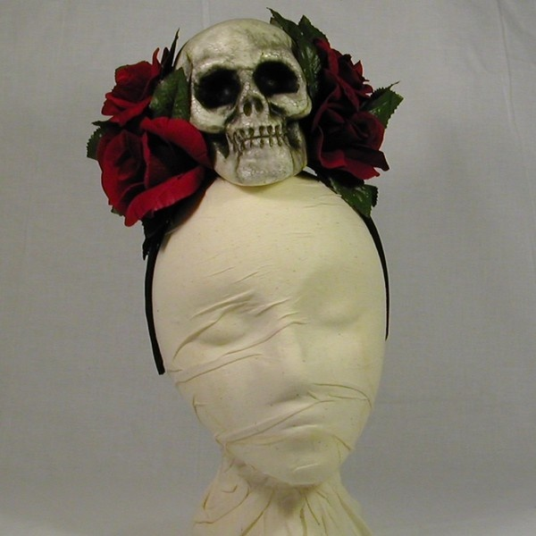 Creepy Skull Day of the Dead Frida Kahlo Halloween Headband Costume Headdress ($16) found on Polyvore