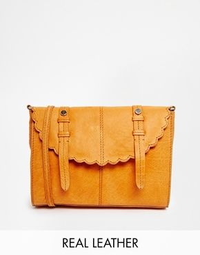 ASOS Leather Scallop Flap Cross Body Bag ... £35 real leather bargain