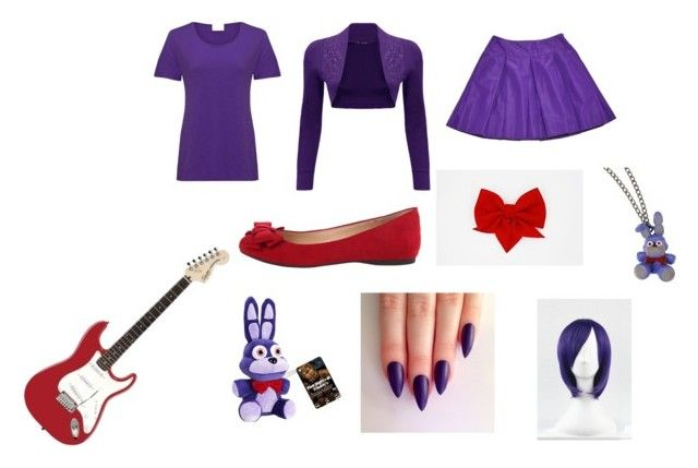 """""""Made Up Fnaf Bonnie Costume"""" by pikachufox ❤ liked on Polyvore featuring art"""