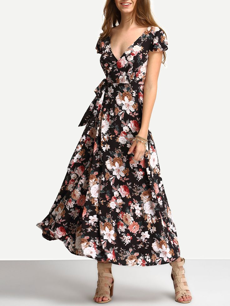 Vestido+largo+estampado+de+flores+con+lazo+auto+atado+22.71