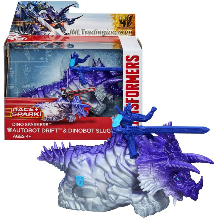 "Transformers Movie Age of Extinction Dino Sparkers Series 6"" Long Figure Racer - AUTOBOT DRIFT and DINOBOT SLUG with Battle Spark FX"