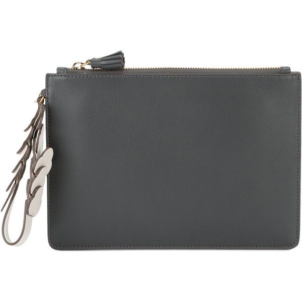Anya Hindmarch - zip-top pouch - women - Leather - One Size (£440) ❤ liked on Polyvore featuring bags, handbags, grey, pouch purse, anya hindmarch handbags, gray handbags, grey leather purse and grey leather handbags