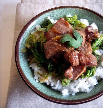 Porc sauté au chou chinois et au gingembre - les meilleures recettes de cuisine d'Ôdélices