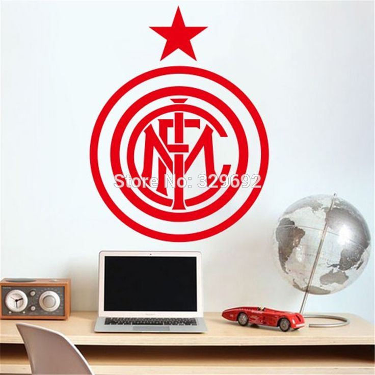 wall art DIY home decoration removable Inter Milan football Europe League team logo wall stickers living room bedroom den #Affiliate