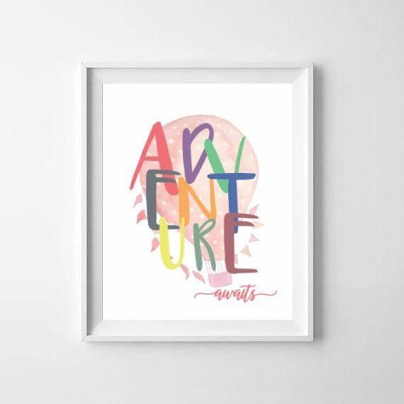 Adventure Girl Nursery Print / Hot Air Balloon Kids Art Print / Adventure Awaits / Pink Toddler Girls Room Print / Girls Playroom Pink Print