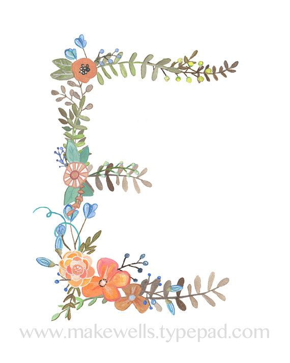 A lovely little floral interpretation of the letter E. This is a reproduction of my original illustration. It is professionally printed on high quality