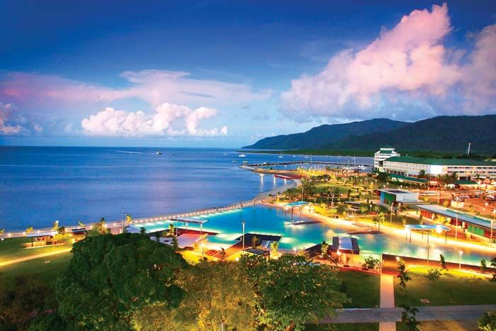 Cairns, Queensland, Australia - a favorite memory, sitting at an outdoor restaurant, looking out at the esplanade,  eating a typical Auzzie breakfast. Could life get better?