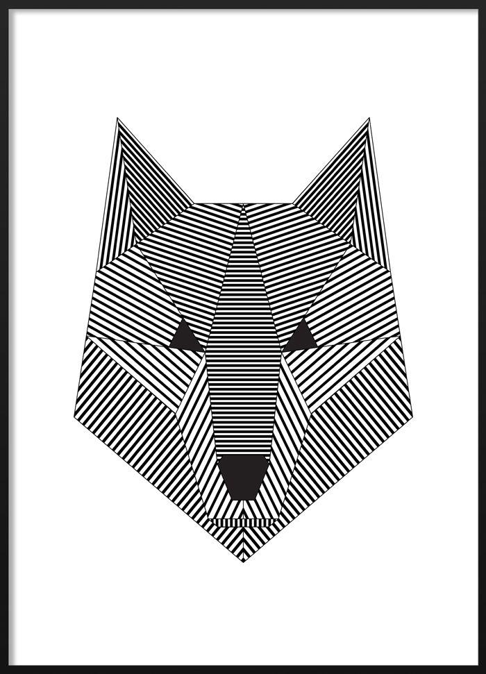 Black and white geometric wolf poster #blackandwhite #modern #scandinavian #interior #geometric #wolf #illustration #poster