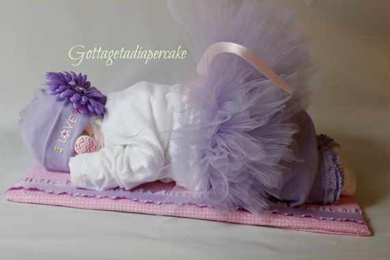 ballerina tutu diapercake Sleeping diaper by Gottagetadiapercake, $70.00