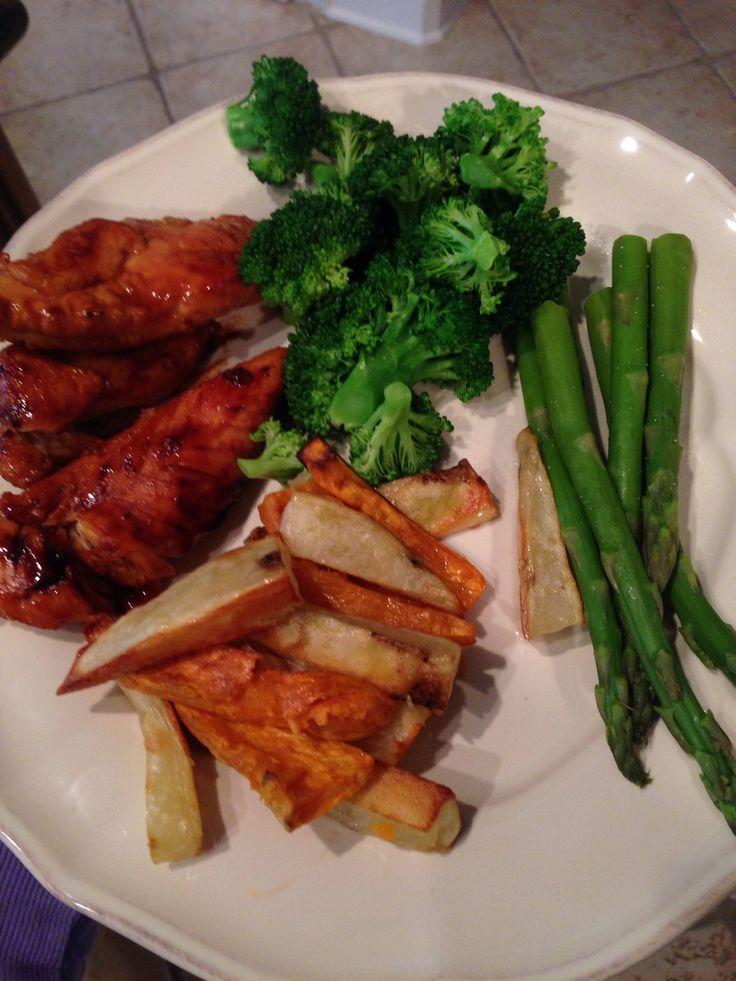 Teriyaki chicken, baked potato fries, asparagus and broccoli. Cook ...
