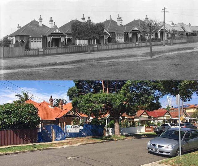 A block of houses in College Street, #Drummoyne, c1920 & 2017 #sydney #history http://fat.ly/grNH (Instagram Image from @beliefmedia, 19th February 2017 8:24pm).