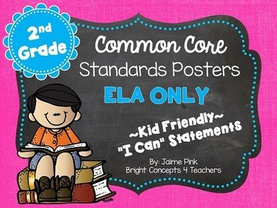 """2nd Grade Common Core """"i Can"""" Standards Posters {ELA ONLY} from Bright Concepts 4 Teachers on TeachersNotebook.com -  (90 pages)  - These 2nd grade ELA Common Core standards posters are written in kid-friendly """"I can"""" statements to help students take ownership of the standards they learn."""