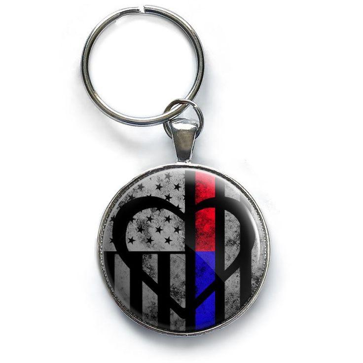 Thin Blue & Red Line Symbolic ♥ Keychain