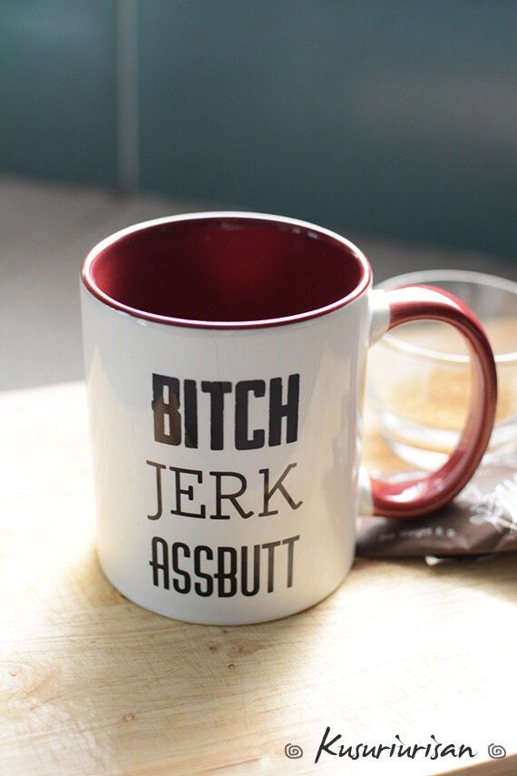 Supernatural mug the symbols and quote BITCH JERK ASSBUTT 2 side - 4 color for…