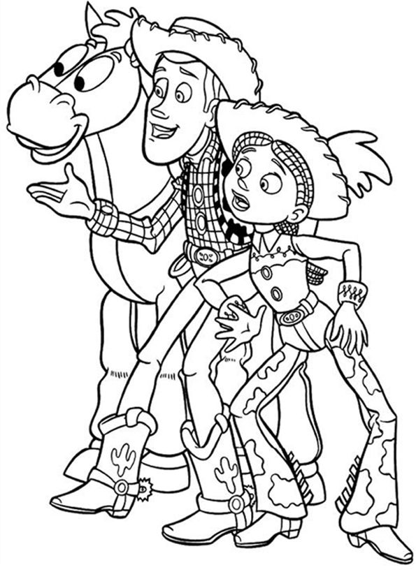 Jessie And Sheriff Woody Coloring Pages For Kids Printable Toy Story