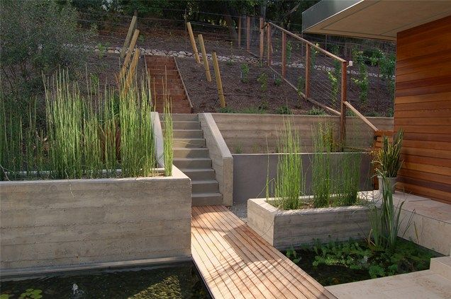 Walkway, Pond Pond and Waterfall Huettl Landscape Architecture Walnut Creek, CA