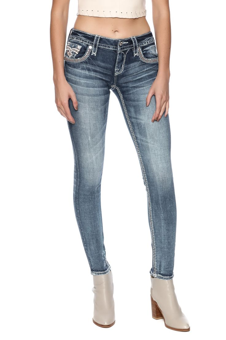 Skinny jean with orange stitching and sequence detailing.    Chereen Skinny Jean by Rock Revival. Clothing - Bottoms - Jeans & Denim - Skinny Minnesota
