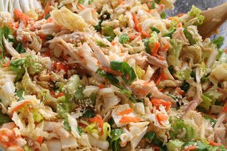 Oriental Chicken Salad. Shredded chicken, crisp veggies, and a yummy sauce. Its light and flavorful! ohsweetbasil.com